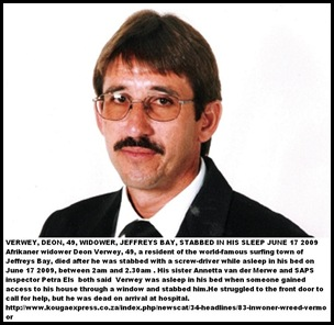 Verwey Deon 49 Jeffreys Bay WC home stabbed in sleep July242010