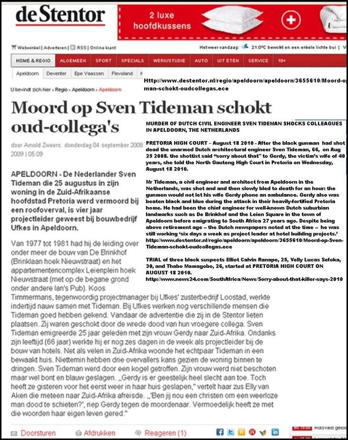 Tideman Sven Dutch engineer shot dead Pretoria Aug252008