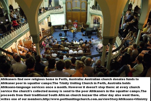 AfrikaansServicesHeldAtTrinityUnitingChurchPerthAustraliaCOLLECT FUNDS FOR POOR AFRIKANERS