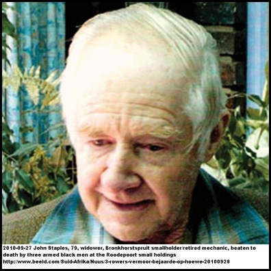 Staples John  Bronkhorstspruit smallholder beaten to death in bed Sept27 2010