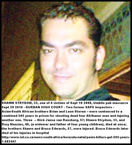 Strydom Shawn Afrikaner victim of racist massacre Umbilo Park KZN Sept 10 2008