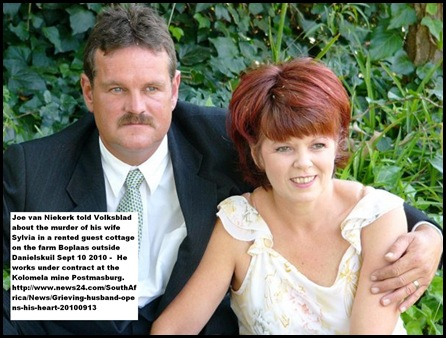 VanNiekerk couple Sylvia was killed on Danielskuil farm Sept 10 2010