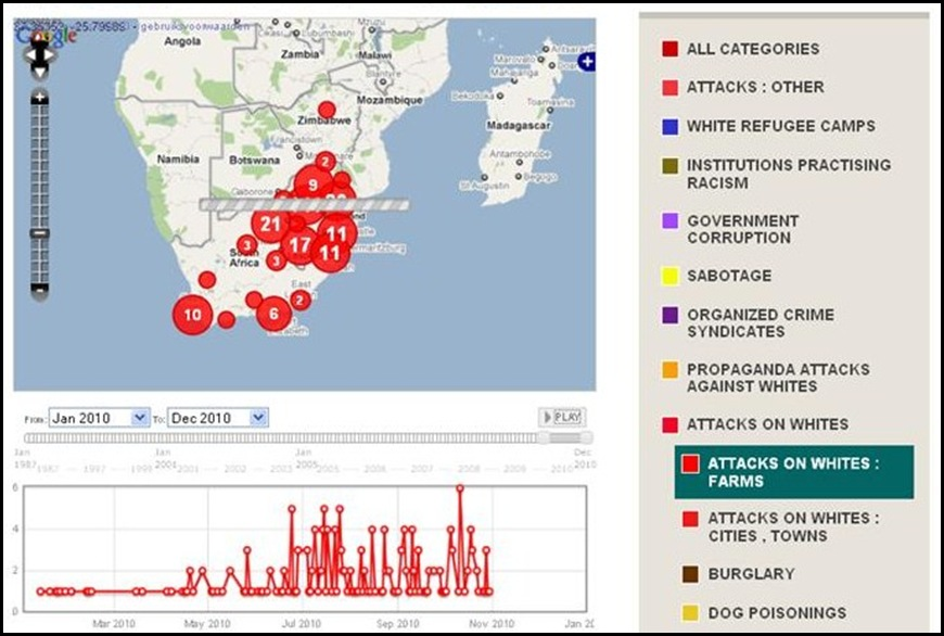 ATTACKS MURDERS AGAINST URBAN WHITES JAN2010 TO OCT 30 2010 IN SA