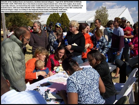Boer Internal Refugee Camps registration for social welfare application during Jacob Zuma to camp Bethlehem, Pretoria