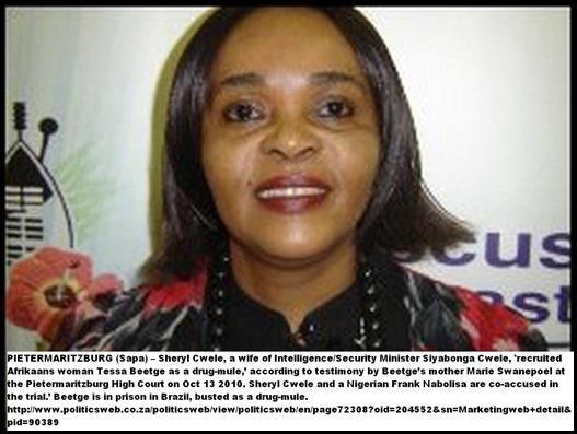 CWELE Sherley wife of police minister Siyabonga Cwele