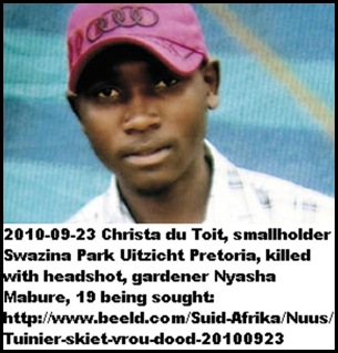 DuToit murder suspect Nyasha Mabure SAPS looking for him