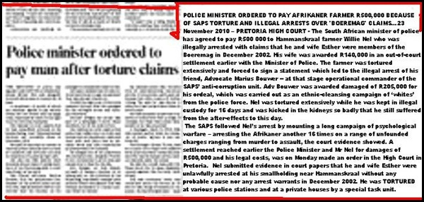 AFRIKANER FARMER WILLIE NEL AWARDED R500D FOR SAPS TORTURE BOEREMAGCLAIM DEC2002