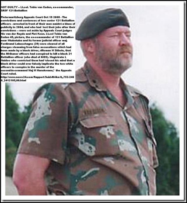 Afrikaner officer VAN EEDEN NOT GUILTY OF TRUMPEDUP CHARGES DEC 2008