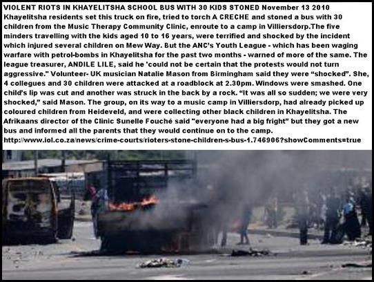 Khayelitsha school bus stoned truck torched Nov 13 2010 LEILA SAMODIEN STORY