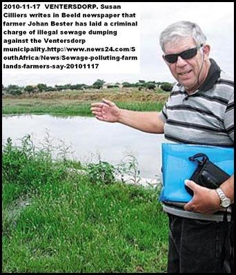 WATER POLLUTION FARMER JOHAN BESTER SCHOONSPRUIT VENTERSDORP SEWAGE ON FARMS
