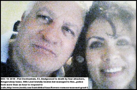 Desfountain Piet killed Krugersdorp Dec162010  wife Lizel survives attack