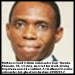 Khumalo Themba 39 SAPS COMMANDER MELKBOS CAPE ARRESTED DRUNK DRIVING DEC 22 2010