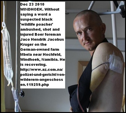 Kruger Jaco Namibian farm foreman shot in ambush Dec23 2010 SA citizen