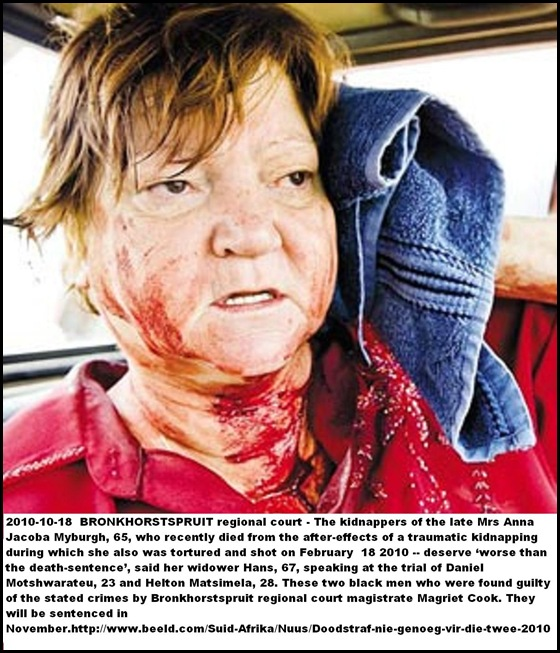 Myburgh Anna Jacoba 65 after her rescue from kidnap shooting 18Feb2010