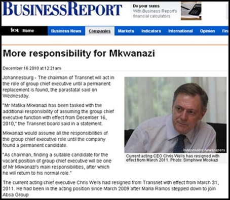 WELLS Chris last white TRANSNET CEO quits job Dec162010