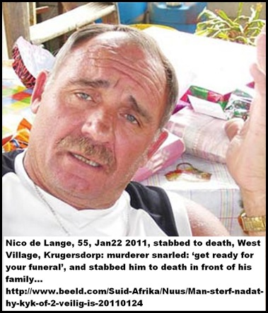 DE LANGE NICO 55 Krugersdorp West Village stabbed to death Jan232011
