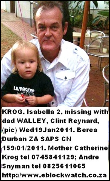 KROG ISABELLA dad CLINT REYNARD WALLEY missing Jan192911 BereaDurban eblockwatch co za
