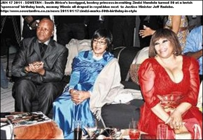 MANDELA ZINDZI 50TH BIRTHDAY BASH WITH MOMMIE DEAREST SOWETAN JAN172011