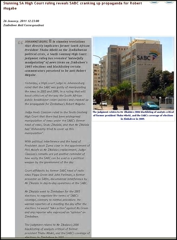 SA BROADCASTER MANIPULATED POLITICAL NEWS RULES GAUTENG COURT JAN262011