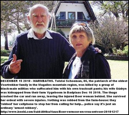 Schoeman Tolstoi 86 killed Magalies farm Dec152010 wife Gudrun abducted assaulted survived