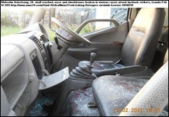 Armstrong Malcolm  white courier attack scene Joburg BLACK TRUCKERS ATTACK ROCKS FROM BRIDGE