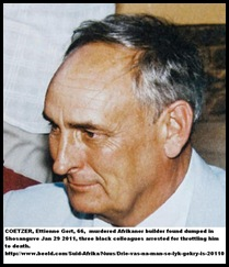Coetzer Ettiene Gert, corpse found murdered Soshanguve Pretoria Jan312011