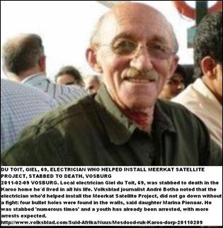 Du Toit Giel 69 stabbed t death Vosburg Feb52011