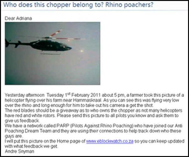RHINOPOACHING HELICOPTER OVER HAMMANSKRAAL EBLOCKWATCH CO ZA FEB12011