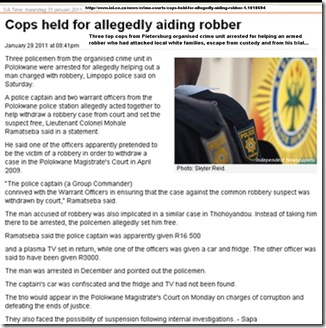 SAPS PIETERSBURG ORG CRIME UNIT 3 COPS ARRESTED JAN292011