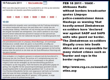 ZIMBABWEAN EXSOLDIERS DECLARE WAR ON SADF SAPS CROSS BORDER FOR CRIME