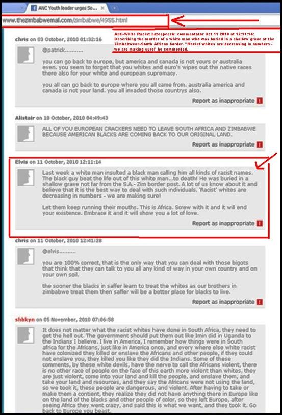 Antiwhite hatespeech White Man murdered claim Julius Malema article ZimMail 11Oct2010_12_11_14 posting