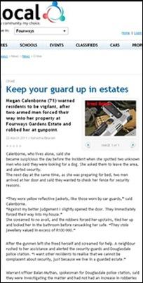 CALENBORNE MEGAN 71 attacked hisecurity Alberton home