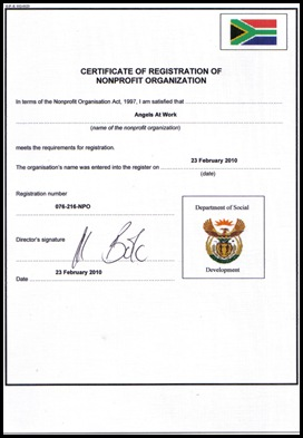 lAngels At Work NON PROFIT ORGANISATION certificate