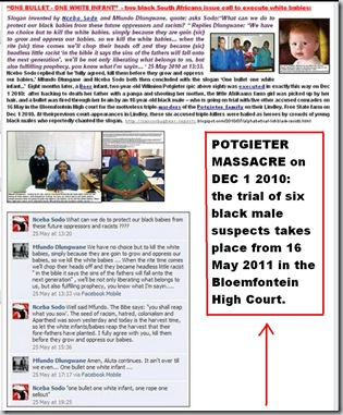 POTGIETER FAMILY MASSACRE ONEBULLETONEWHITEINFANT TRIAL 16MAY2011 BLOEM HICOURT