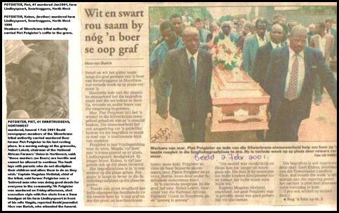 Potgieter Piet NW farmer murdered Silverkrans tribal authority carried coffin 2FEB2001 BEELD