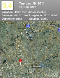 Standerton Earthquake 3_4 5km deep Jan182011