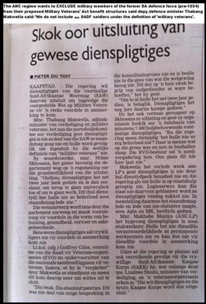 Afrikaner war veterans excluded from ANC War Veterans Act pensions