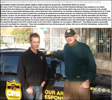 ALBERTON Afrikaner crime fighters TYRONEvdMERWE_DAVE BURT CRIME SOARS WARNING