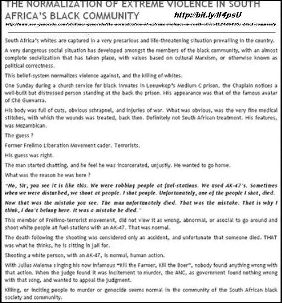 BlackViolenceNormalisationSouthAfricaNeoGenocide.June162011