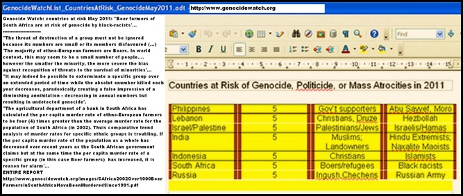 GenocideWatch2011_BoersRefugeesAtRiskOfGenocideByBlackRacists