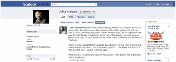 ANC youth league genocidal speech MBATETI Thato_Malema_Facebook_FanPage_Screenshot