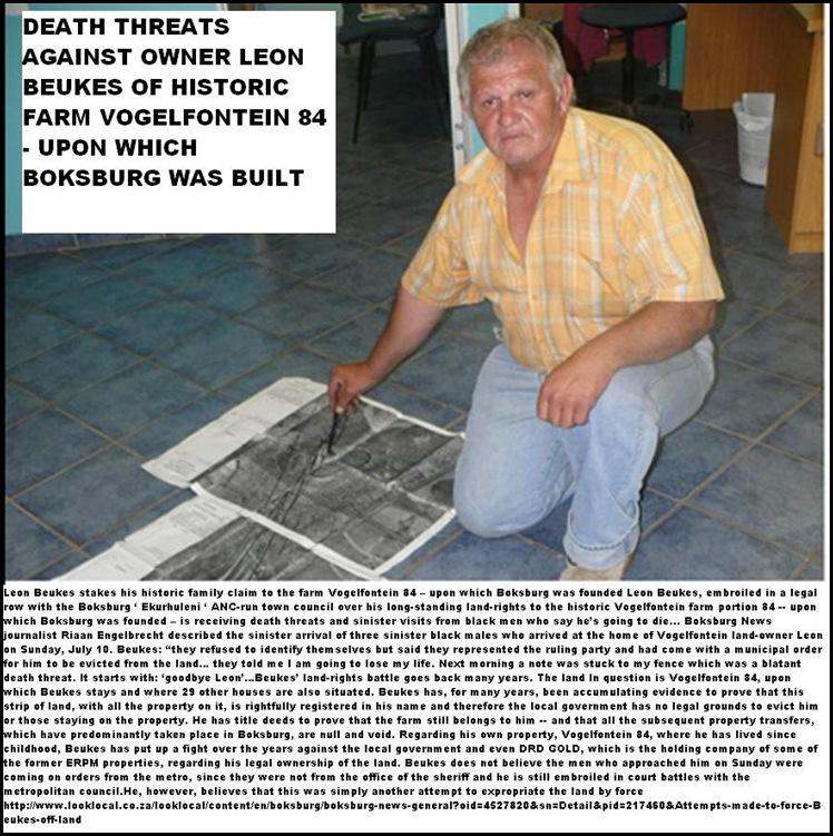 BEUKES LEON BOKSBURG VOGELFONTEIN 84 LAND RIGHTS DEATH THREATS