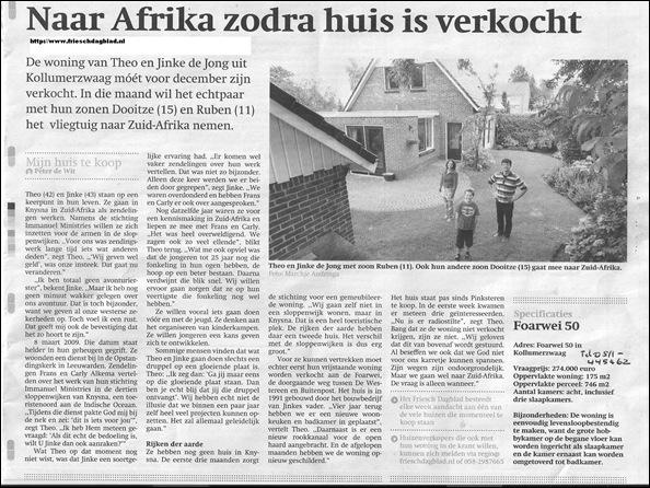 DeJong Friesland Immanuel Ministries Knysna