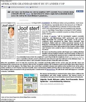 JANSE VAN RENSBURG JOOF SHOT DEAD BY BLACKRACIST COP EVANDER
