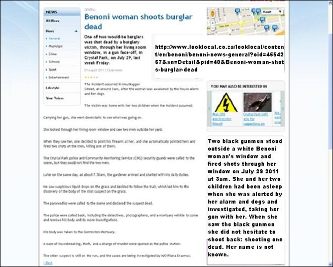 BENONI WOMAN SHOOTS DEAD BLACK GUNMAN CRYSTAL PARK JULY292011