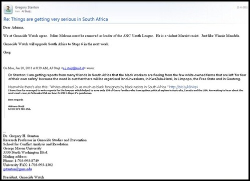 BOERS IN FULLBLOWN GENOCIDE EMAIL DRGREGORY STANTON GENOCIDEWATCH ASTUIJTJUN212011