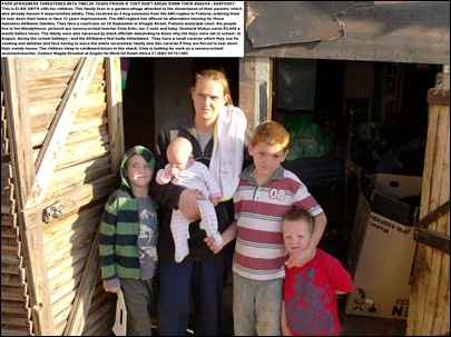 DASPOORT AFRIKANER POOR WHITE FAMILY FACING EXPULSION FROM SHACK BY ANCREGIMEAUG2011