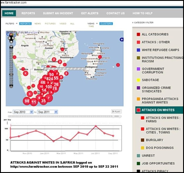 ATTACKS AGAINST WHITES SA SEPT2010 TO SEPT 22 2011