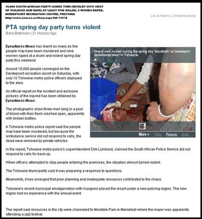 DERDEPOORT 10_000 PARTYGOERS ORGY VIOLENCE AND RAPE PRETORIA Barry BatemanSept72011