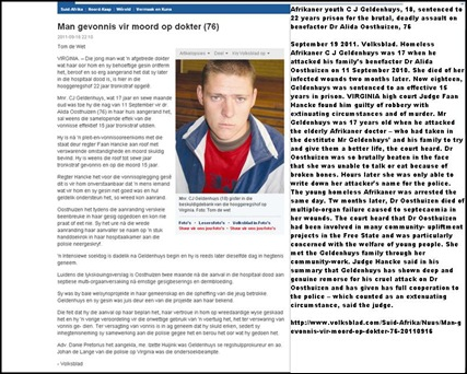 GELDENHUYS CJ jailed 22yrs was 17 when he killed benefactor Dr Alida Oosthuizen 11Sept2010 VirginiaFS